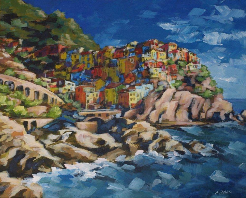 "'""Manarola'', Acrylic Painting of Town of Manarola, Cinque Terre, Italy, by Ashley Oshiro, Calgary, Alberta, Local Fine Artist, Original Art"