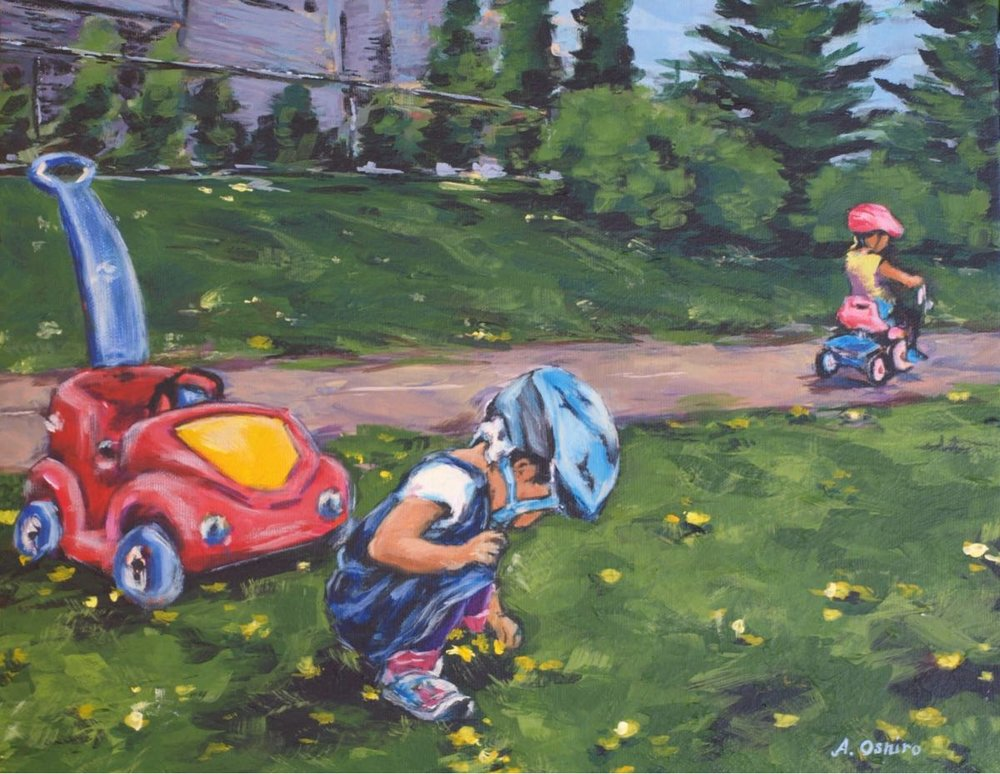 child_picking_dandelions_bicycles -painting_by_ashley_oshiro