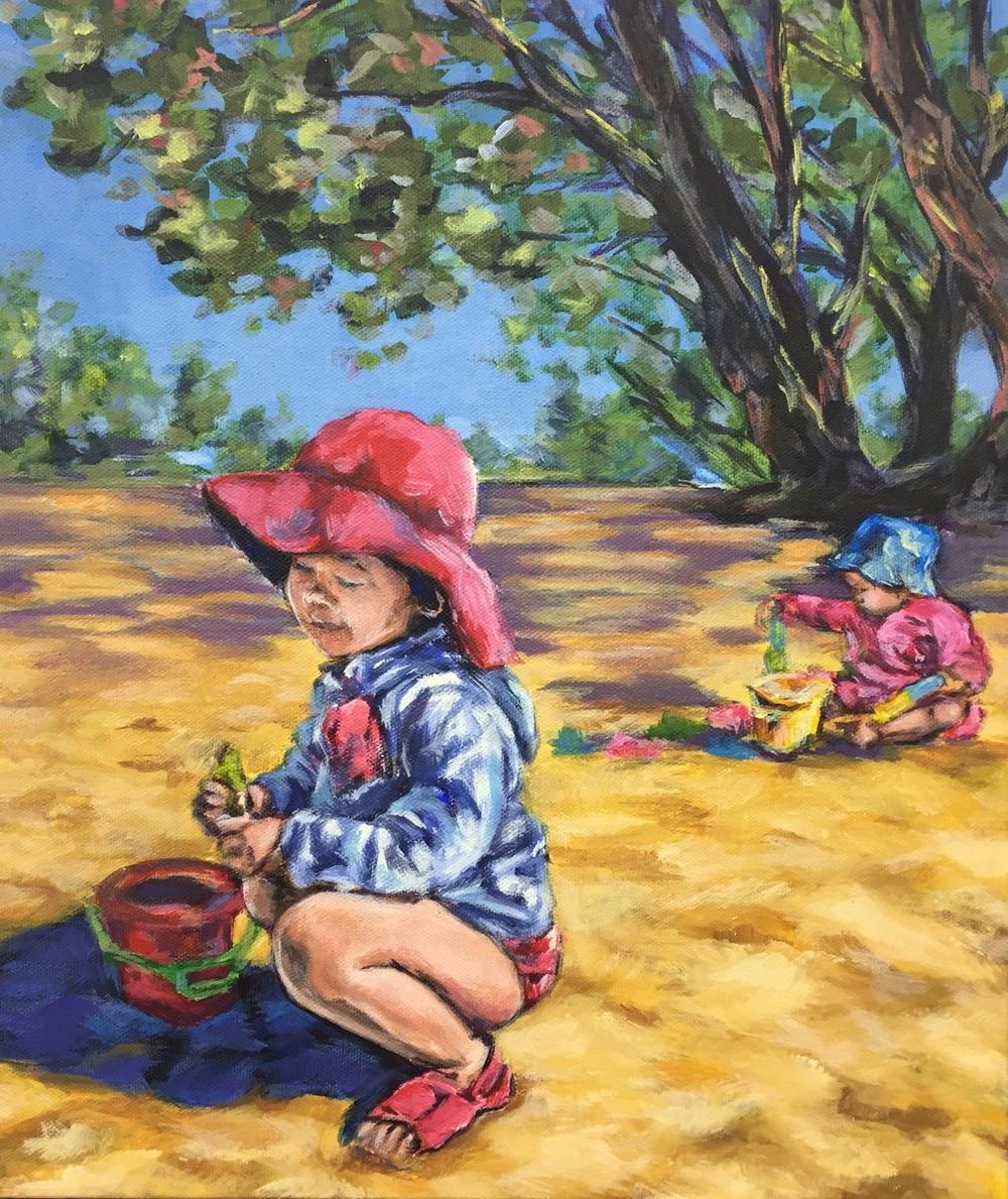 "'""Sand"", Acrylic Painting of two Girls children playing on the beach in the sand, by Ashley Oshiro, Calgary, Alberta, Local Fine Artist, Original Art"
