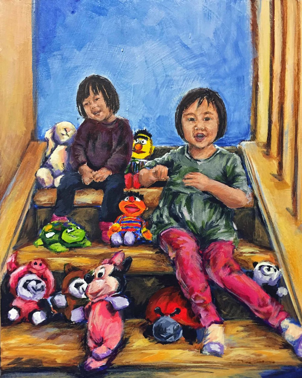 """Party"", Acrylic Painting of Two children sitting on stairs with stuffed animals, by Ashley Oshiro, Calgary, Alberta, Local Fine Artist, Original Art"