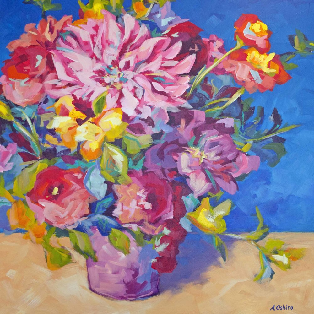 """""""Merry'', Acrylic Painting of Vase of colourful fresh flowers with blue background, by Ashley Oshiro, Calgary, Alberta, Local Fine Artist, Original Art"""