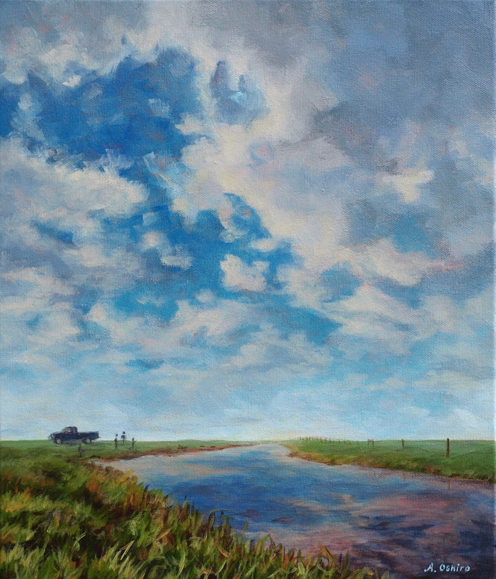 'The Canal' , Acrylic landscape Painting of Alberta fishing spot, truck, clouds and grass, by Ashley Oshiro, Calgary, Alberta, Local Fine Artist, Original Art