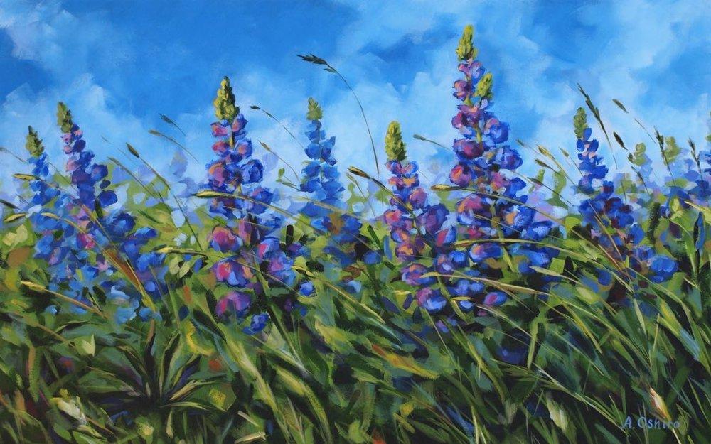 Serenity Acrylic  Painting of Lupine Field in the wind Lupines, blue sky, by Ashley Oshiro, Calgary, Alberta, Local Fine Artist, Original Art