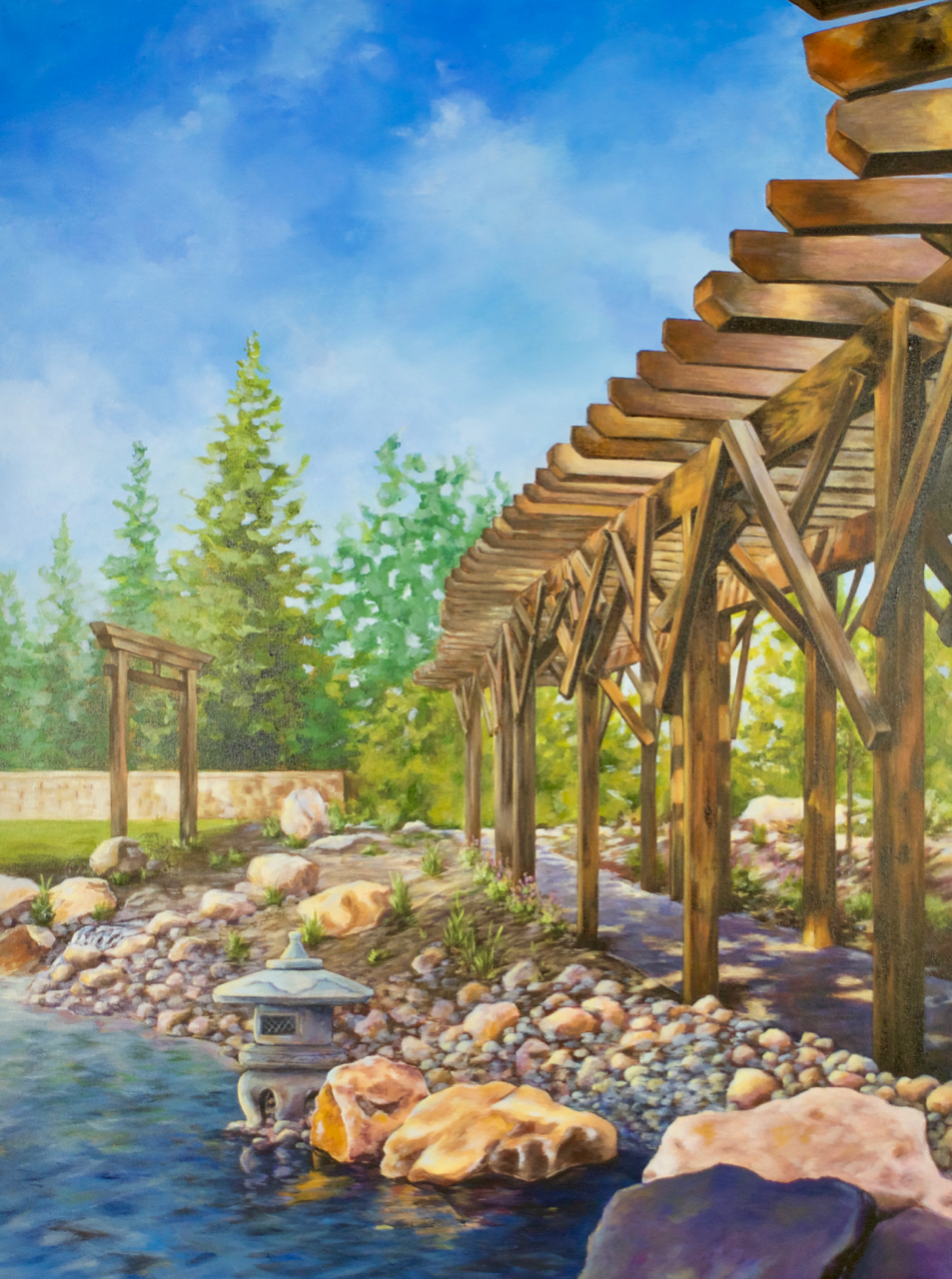 'Pondering Upon Reflection', Acrylic Painting of Japanese Garden Trellis, torii gate, ishidoro rocks, waterfall, by Ashley Oshiro, Calgary, Alberta, Local Fine Artist, Original Art