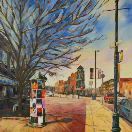 "- No. 18 – '1133 Kensington Rd. NW'20x20"" Acrylic on Cradled Birch PanelStanding in front of Plaza Theatre is a view of Kensington Village. This trendy neighborhood is just north of downtown Calgary and has many unique stores, coffee shops and restaurants. The artist has always wanted to paint Pointe Building, which is the iconic flatiron style building shown in the distance."