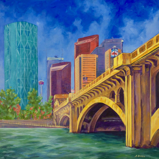 "- No. 21 – 'Centre Street Bridge and Memorial Drive NW'20x20"" Acrylic on Cradled Birch PanelThis is a view of Centre Street Bridge from the walking path on Memorial Drive. On June 19, 2013, after days of heavy rainfall, Calgary experienced one of the biggest floods in Alberta's history. The city's downtown core was evacuated and the Bow River rose to a record level of 4.09 meters. Calgary's Chinatown was hit especially hard by the floods and the artist was able to help bring lunches to senior residents unable to evacuate from their apartment buildings the week after the floods."