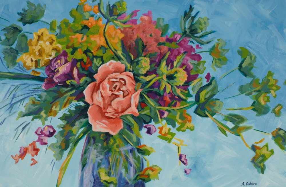 'Light as a Feather Acrylic Painting Colourful floral arrangement in vase.  Coral rose in center.  Light blue background by Ashley Oshiro, Calgary, Alberta, Local Fine Artist, Original Art