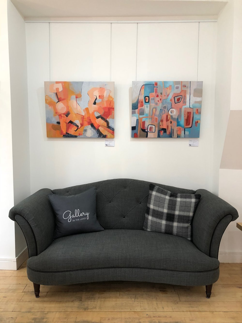 My paintings 'Rock Yourself To Sleep' and 'Freedom In A Mirrored Room' at Gallery In The Lanes.