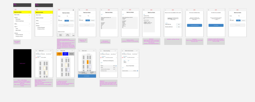 This is a screenshot of the initial wireframe discussion using Google Draw. It was used for team wide collaboration and to understand the key challenges that needed to be addressed for a effective ticket booking flow.