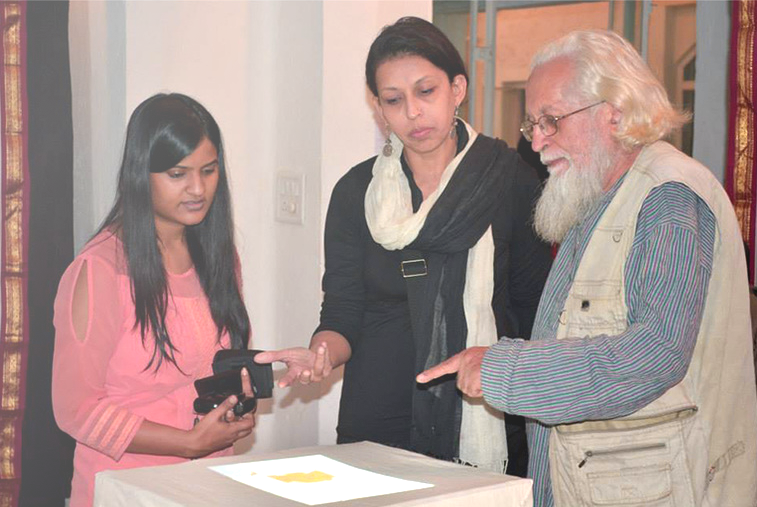 Shrankhla explaining the installation.