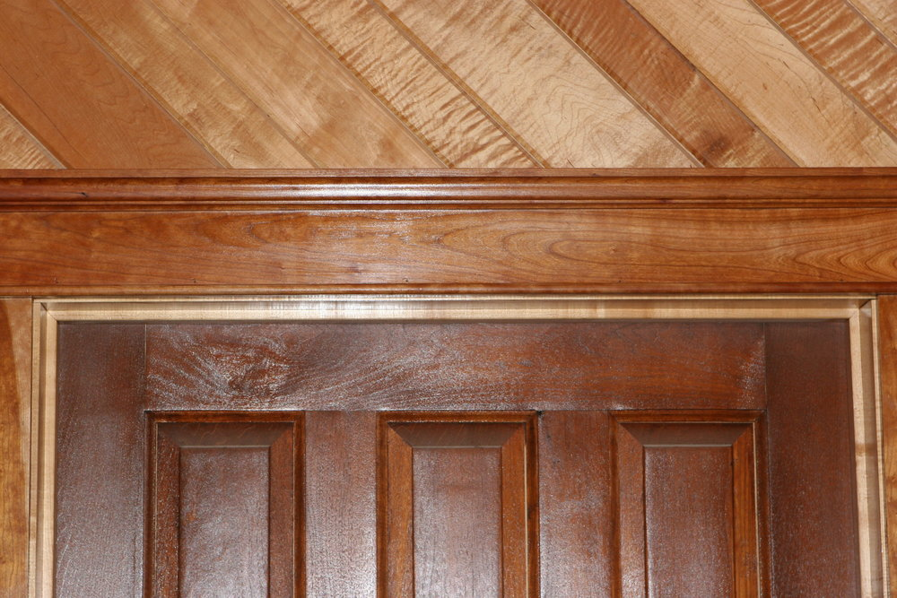 Tiger Maple tongue and groove, V-groove and cherry crown moulding.JPG