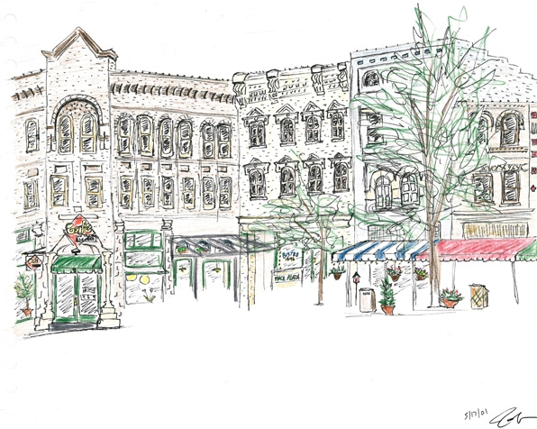 """Pack Square"" downtown Asheville in 2001.  Pen and colored pencil.  Copyright © 2001 - 2017 Jennifer Russ, All Rights Reserved."