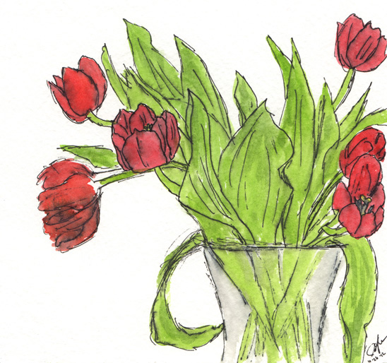 "Pen and watercolor.  ""Red Tulips"" October 2012.  Prints available. Copyright © 2012 - 2017 Jennifer Russ, All Rights Reserved."