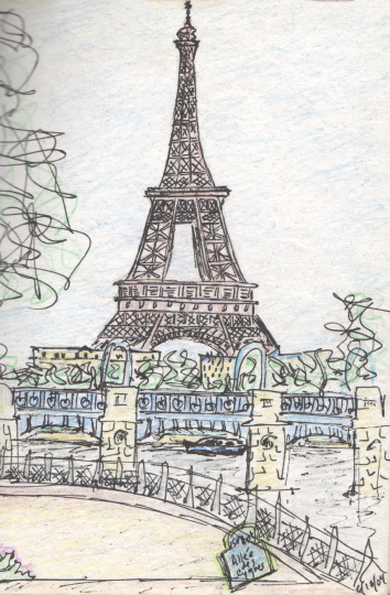 "Pen and colored pencil.  ""Eiffel Tower""  Paris, France.  June 2004. Copyright © 2004 - 2017 Jennifer Russ, All Rights Reserved."