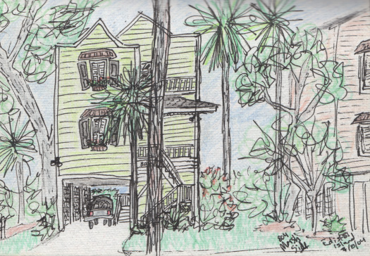 Pen and colored pencil of houses on Edisto Island, SC.  July 2004. Copyright © 2004 - 2017 Jennifer Russ, All Rights Reserved.