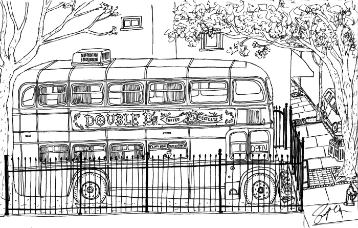 """Pen drawing. """"Red bus"""" Asheville, NC. March 2017. Prints available. Copyright © 2017 Jennifer Russ, All Rights Reserved."""