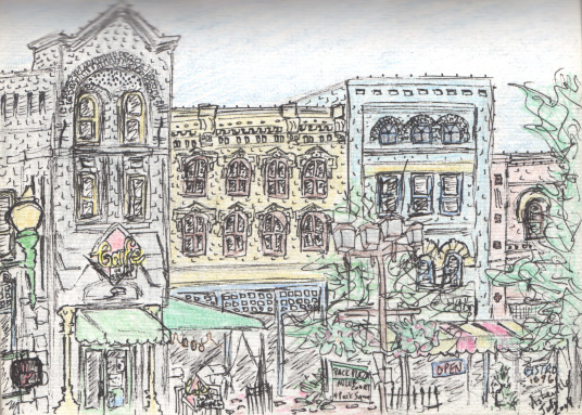 Pen and colored pencil sketch of Pack Square in downtown Asheville, NC.  July 2004.  Copyright © 2012 - 2017 Jennifer Russ, All Rights Reserved.