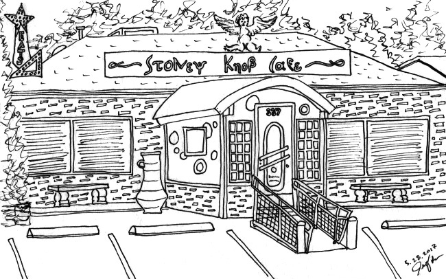 Pen drawing with pencil removed. Stoney Knob Cafe in Weaverville, NC. May 2017. Prints available. Copyright © 2017 Jennifer Russ, All Rights Reserved.