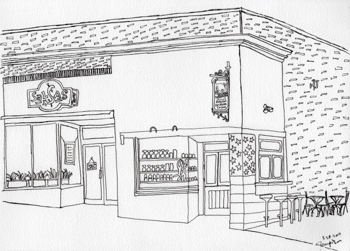 Pen drawing of Salsas in Asheville, NC. May 2017. Prints available. Copyright © 2017 Jennifer Russ, All Rights Reserved.