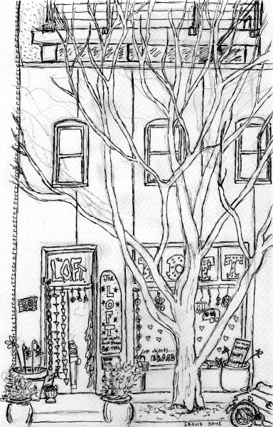 Pencil sketch with pen.  The L.O.F.T. of Asheville.  March 2017. Copyright © 2017 Jennifer Russ, All Rights Reserved.