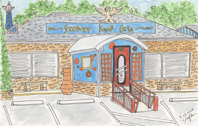 Pen and watercolor. Stoney Knob Cafe. Weaverville, NC. Prints available. Copyright © 2017 Jennifer Russ, All Rights Reserved.