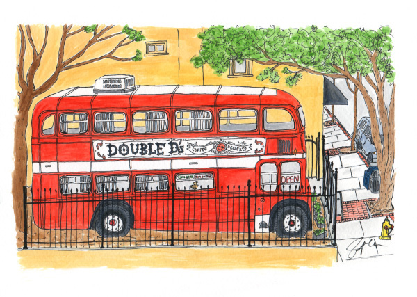 """Pen and watercolor. """"Red bus"""" March 2017. Asheville, NC. Prints, cards, and postcards available. Copyright © 2017 Jennifer Russ, All Rights Reserved."""