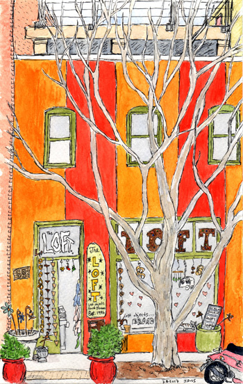 Pen and watercolor.  The L.O.F.T. of Asheville.  March 2017.  Prints, cards, and postcards available.  Copyright © 2017 Jennifer Russ, All Rights Reserved.