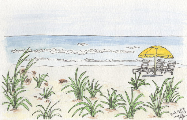 """Pencil, pen, and watercolor. """"Beach Umbrella"""" Ponte Vedra, Florida. April 2017. Prints available. Copyright © 2017 Jennifer Russ, All Rights Reserved."""