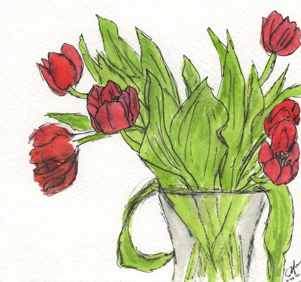 "Pen and watercolor. ""Red Tulips"" October 2012. Prints available. Copyright © 2012 -2018 Jennifer Russ, All Rights Reserved."