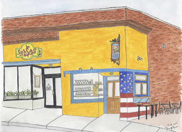 Pen and watercolor. Salsas in downtown Asheville. May 2017. Prints available. Copyright © 2017 Jennifer Russ, All Rights Reserved.
