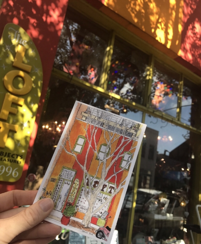 The L.O.F.T. of Asheville postcard is available at The L.O.F.T., also located in downtown Asheville, on their website:  www.loftofasheville.com, and from me.