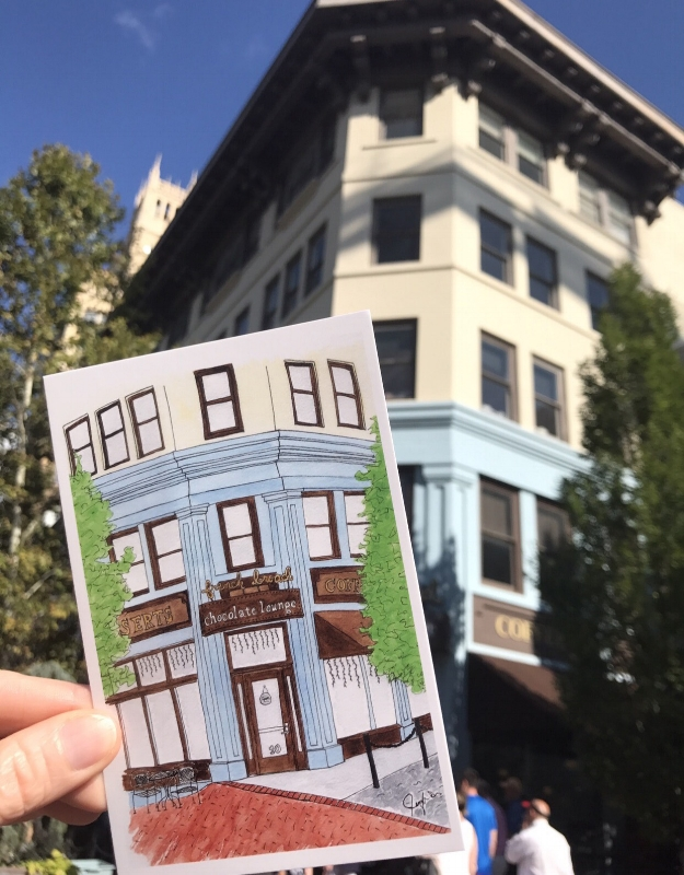The French Broad Chocolate Lounge postcard is now available at Dolce Vita in Downtown Asheville, at Downtown Books & News, at the Show & Tell Pop Up this August, October, and December, and from me!