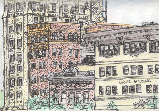 Pen and colored pencil.  Downtown Asheville, NC.  July 2004. Copyright © 2004 - 2017 Jennifer Russ, All Rights Reserved.