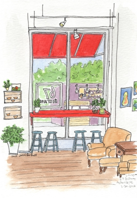 Pen and watercolor. 67 Biltmore Downtown Eatery & Catering in downtown Asheville, North Carolina. October 2017. Prints and postcards available. Copyright © 2017 Jennifer Russ, All Rights Reserved.