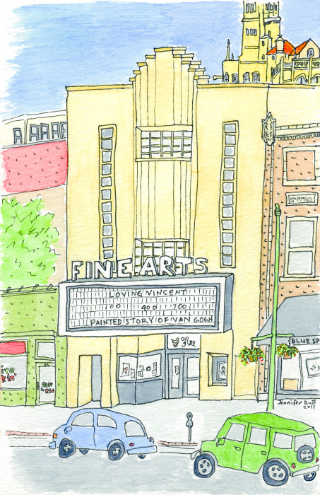 Pen and watercolor of the Fine Arts Theatre in downtown Asheville, North Carolina. October 2017. Prints, cards, postcards, and magnets available. Copyright © 2017 Jennifer Russ, All Rights Reserved.