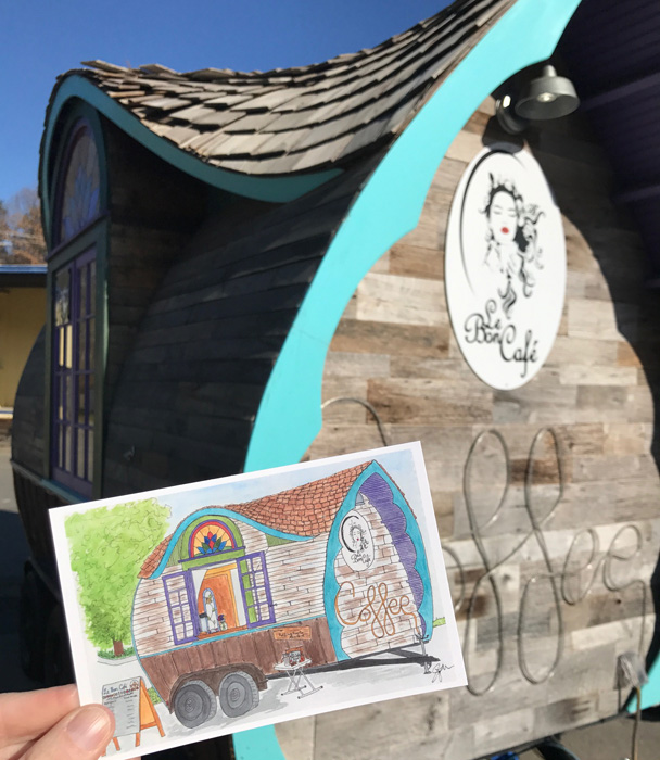 Le Bon Café is now carrying my postcard of their adorable tiny coffee house!  They will also be available at The Asheville Holiday Market this month, and from me.