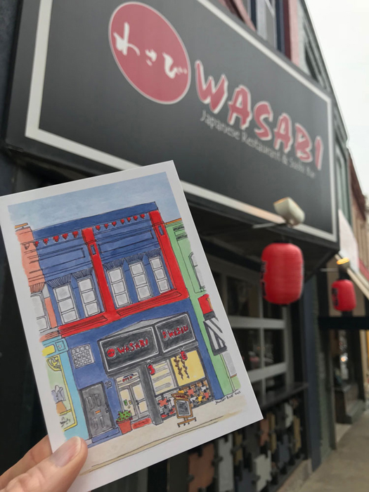 Wasabi!  One of my favorite restaurants in Downtown Asheville!  And the building is just so cool!  I had to draw it!  This postcard will be available at the Show & Tell Pop Up this August, October, and December, and from me.