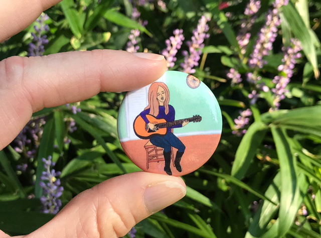 """New 1.5"""" buttons of my gouache painting inspired by my first guitar lesson. It's never too late to learn something new! And guitars are just cool! :-) These are also available at the Show and Tell Pop-Up Shop!"""