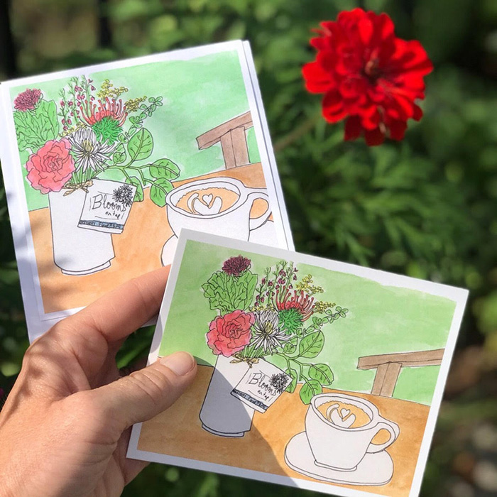 Postcards and notecards of my pen and watercolor drawing of flowers from Blooms on Tap and my latte from Liberty House can now be purchased from Blooms on Tap! I will also have some of these postcards at the next Show and Tell Pop Up Shop.