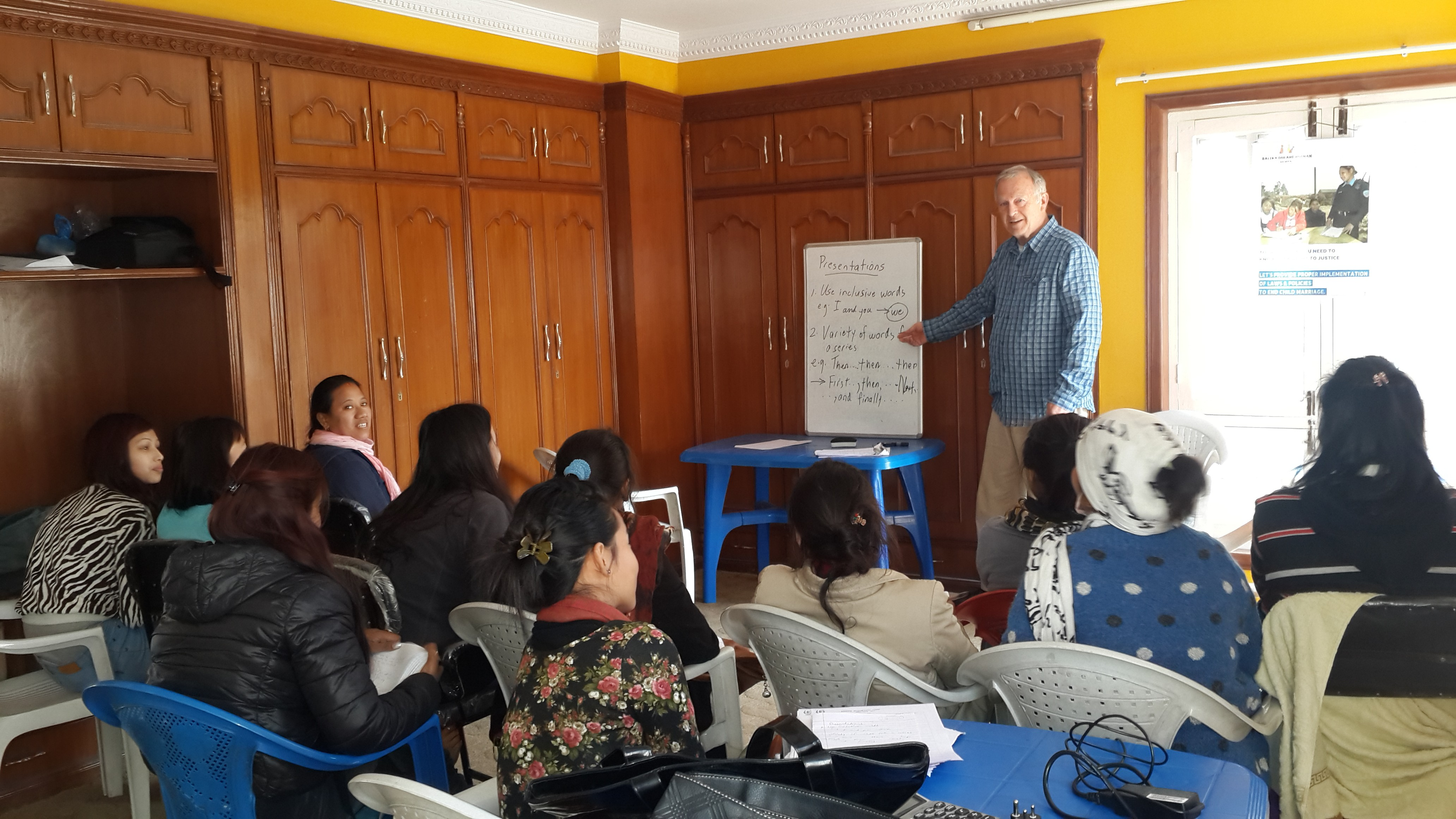 A group of women participate in a paralegal training course run by SASANE in Nepal.