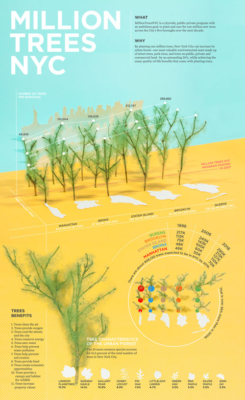 Million trees NYC, infographic  Client: NYC Parks