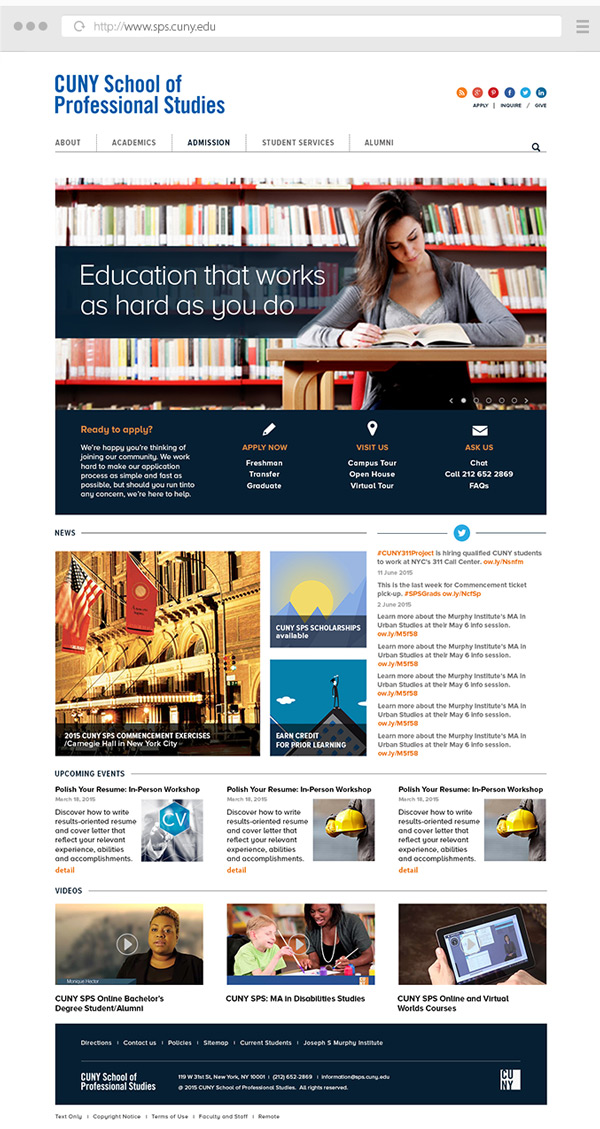 Website redesign  Client: CUNY School of Professional Studies