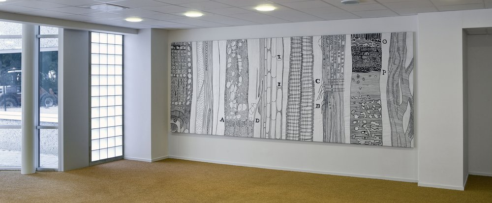 Cells, hand embroidered, 200 x 400 cm