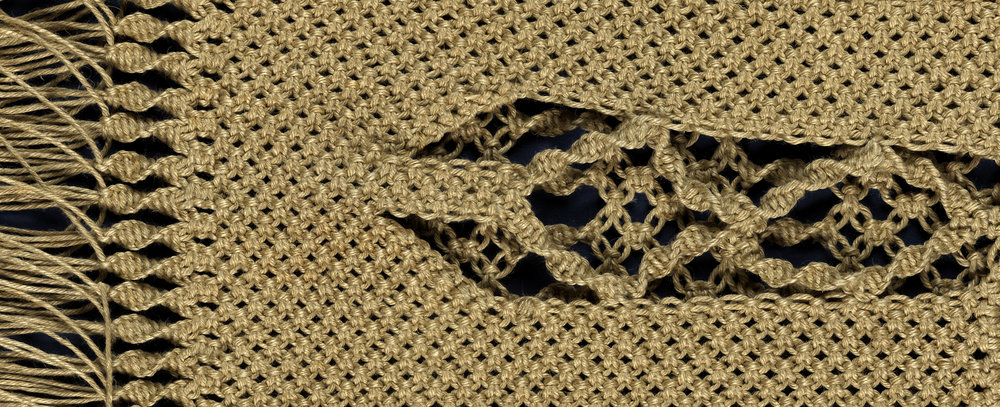 Detail from My Second Skin, macramé knotted purse, 20th century