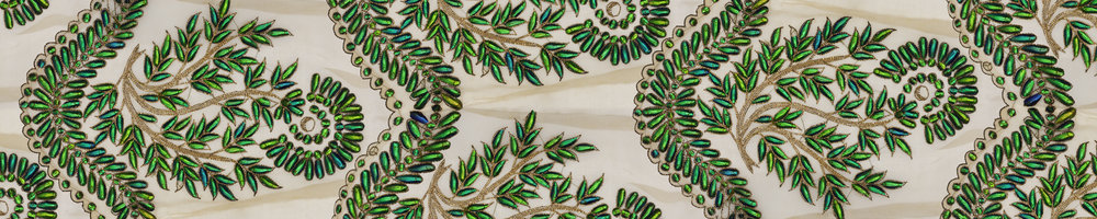 Detail from My Second Skin, beetleshield embroidery, India 19th century