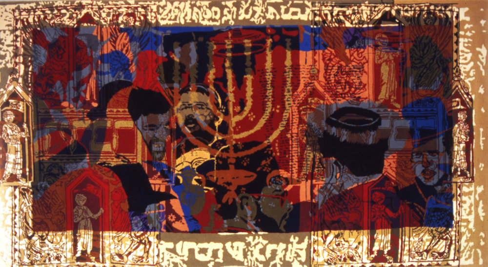 Jewish, Handtufted, wool and gold thread, 280 x 520 cm