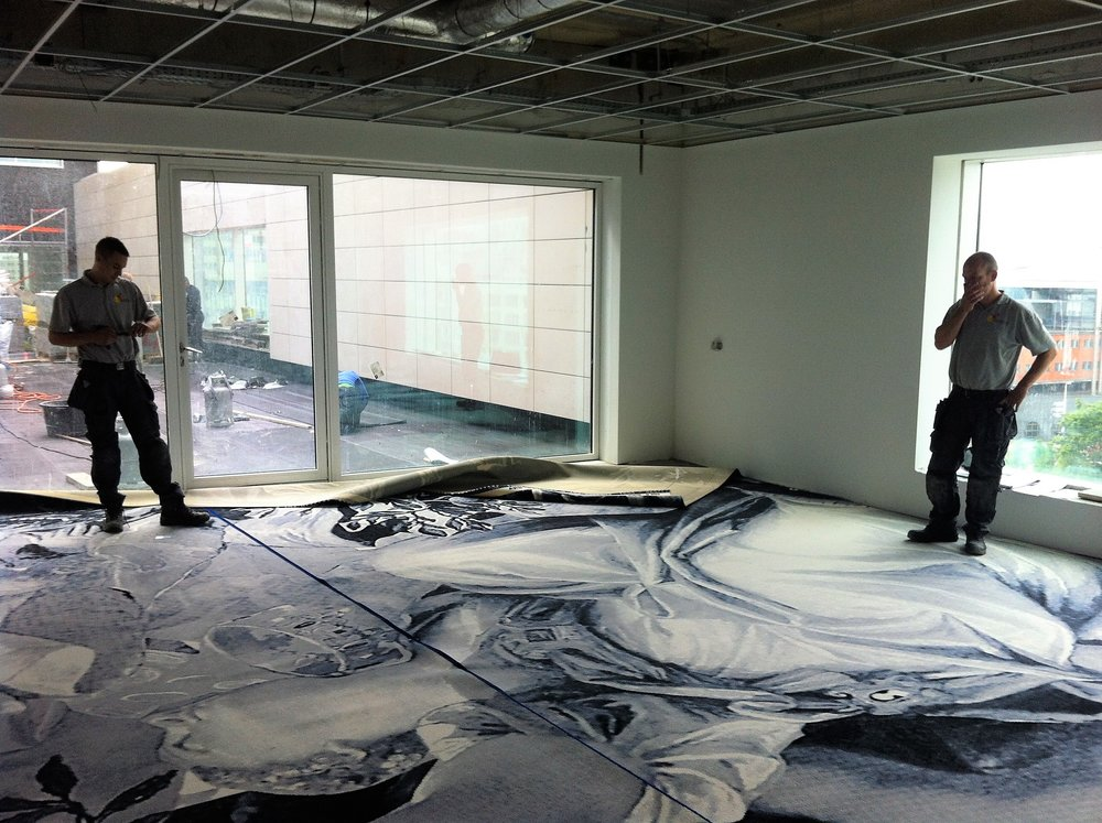 Installation of the boardroom carpet