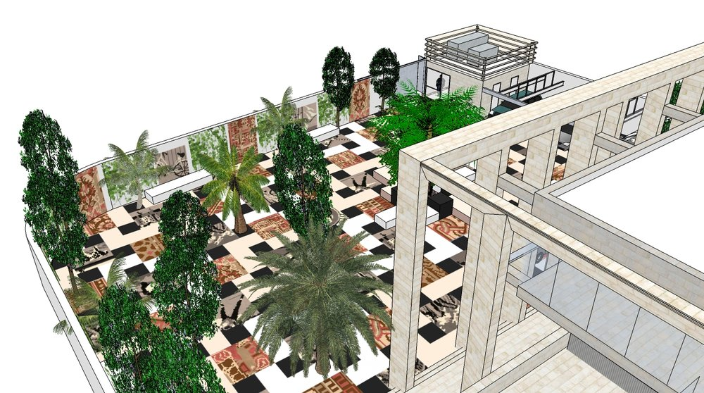 Overview of the courtyard, artist impression