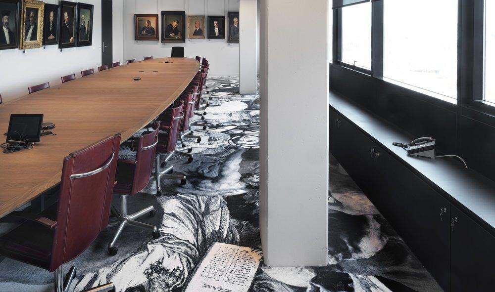Amsterdam University, Justice and Injustice, printed carpet, 6 x 14 m