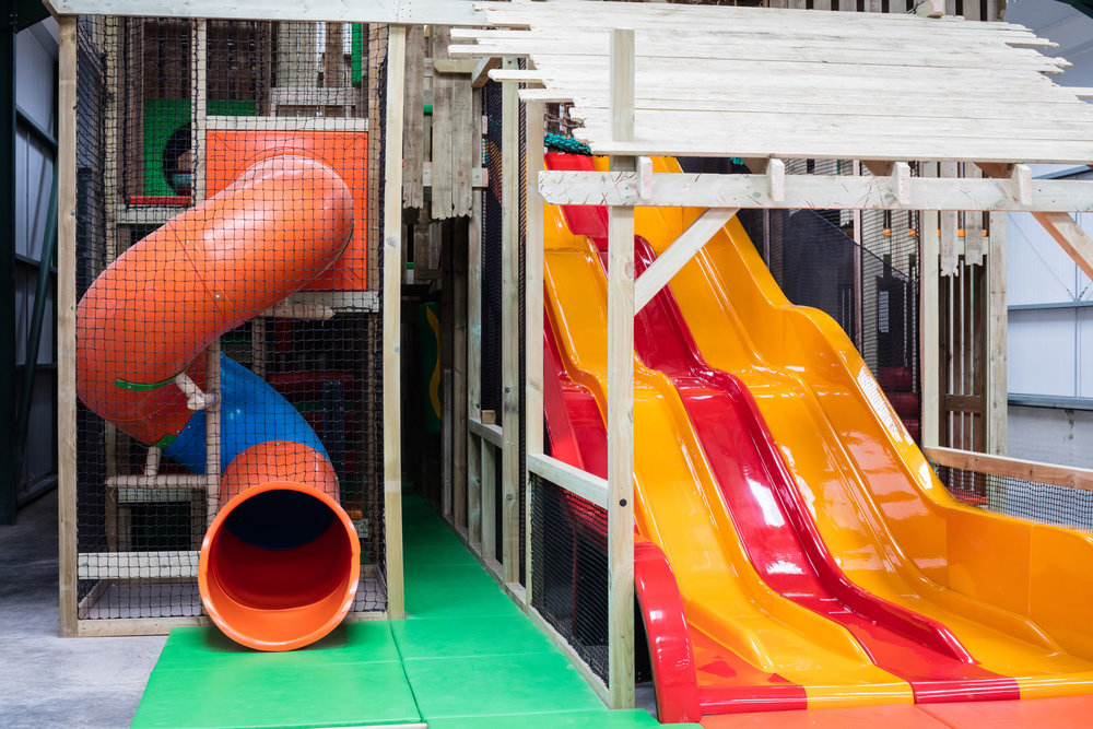 The 360 slide and wavy slide give little visitors two options for a smooth escape!